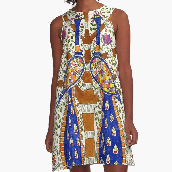 Happy Peacock A-Line Dress