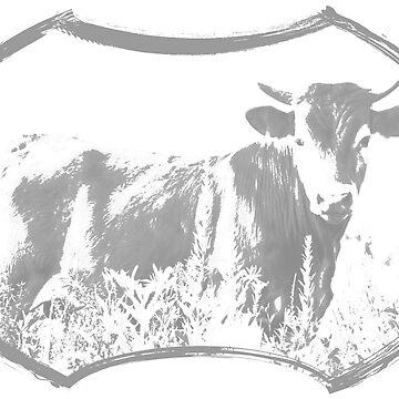 Heifer in the Flowers - light grey by cherylintexas