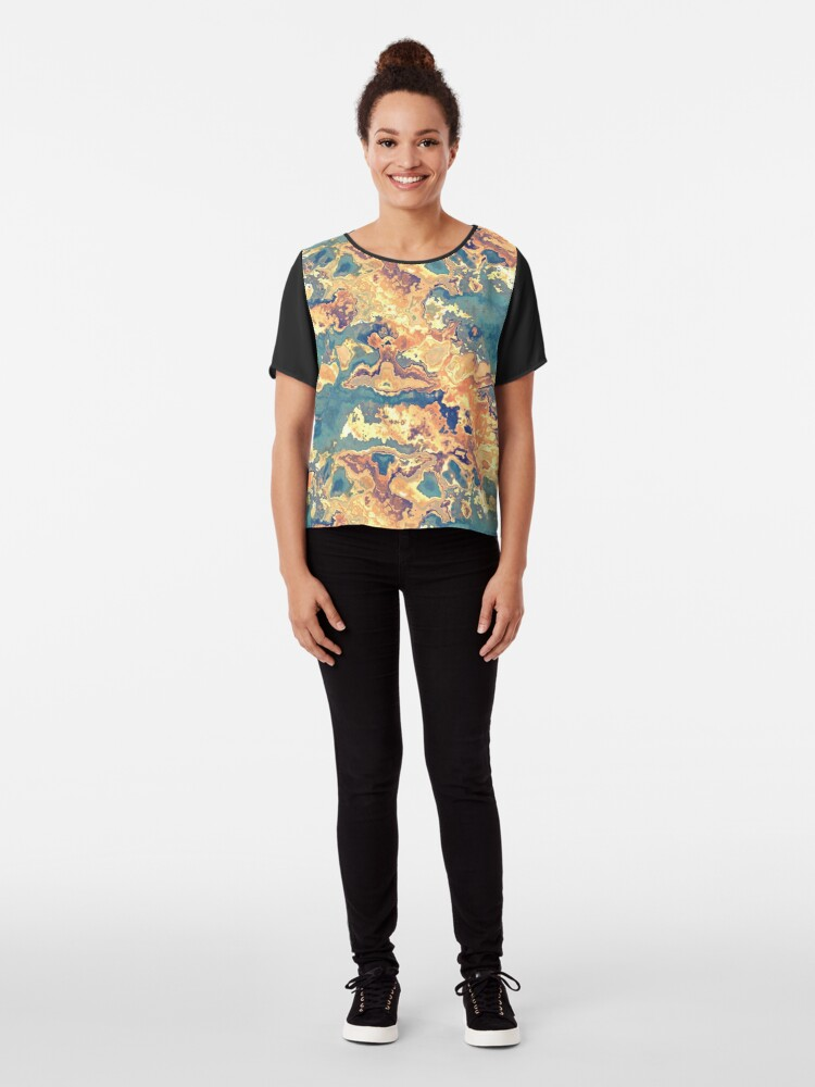 Alternate view of Digital Rust Abstract Chiffon Top