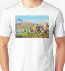 Sheep and lambs on a sunny day painting T-Shirt