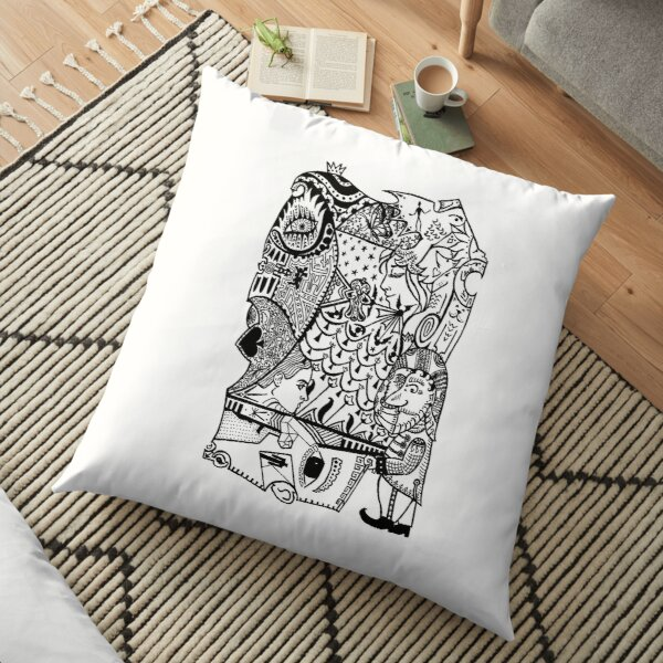 Loads of thoughts and desires in your head before you go to sleep Floor Pillow