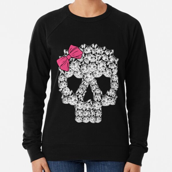 kitten sugar skull Lightweight Sweatshirt
