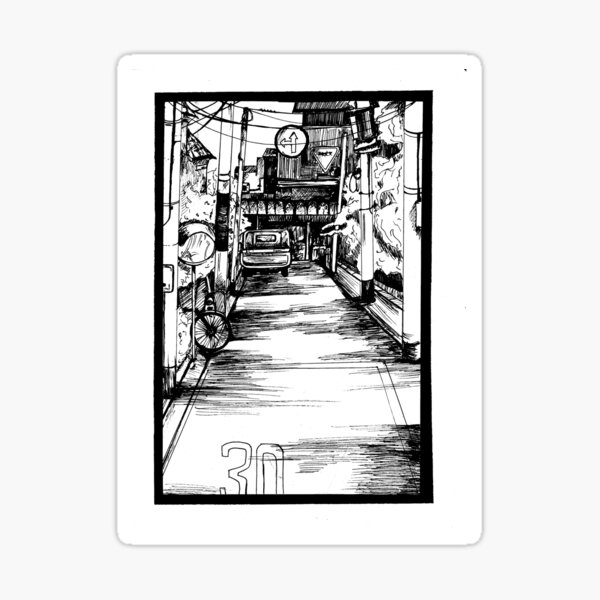 Manga Street Breeze Panel Print Sticker