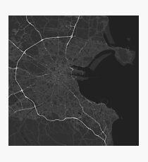 Dublin, Ireland Map. (White on black) Photographic Print
