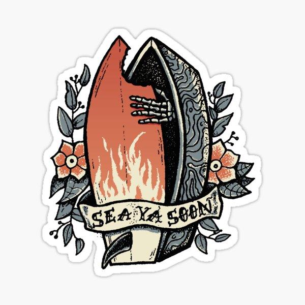 'Sea Ya Soon' - Casket Tattoo Design Sticker