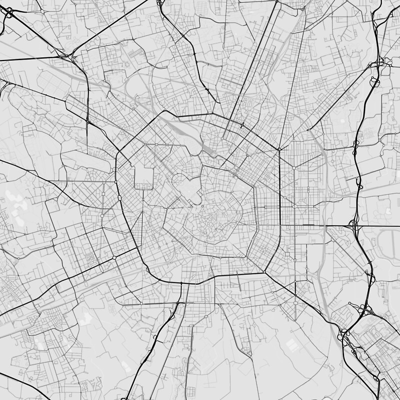 Milano italy map black on white art prints by graphical maps milano italy map black on white by graphical maps gumiabroncs Image collections