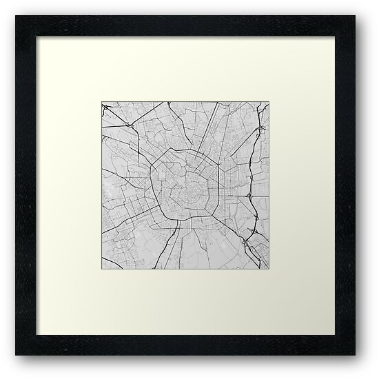 Italy Map Black And White.Milano Italy Map Black On White Framed Prints By Graphical Maps