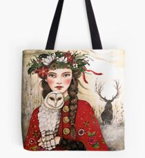 The girl and the snow owl Tote Bag