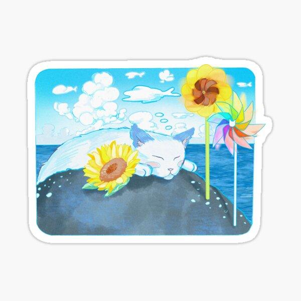 Ocean Kitty in the Breeze Sticker