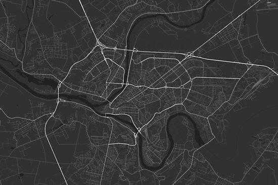 Kaunas, Lithuania Map. (White on black) von Graphical-Maps