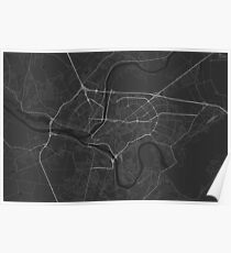 Kaunas, Lithuania Map. (White on black) Poster