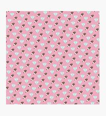 Retro Ice Cream & Drugs Pattern Only (Pink) Photographic Print