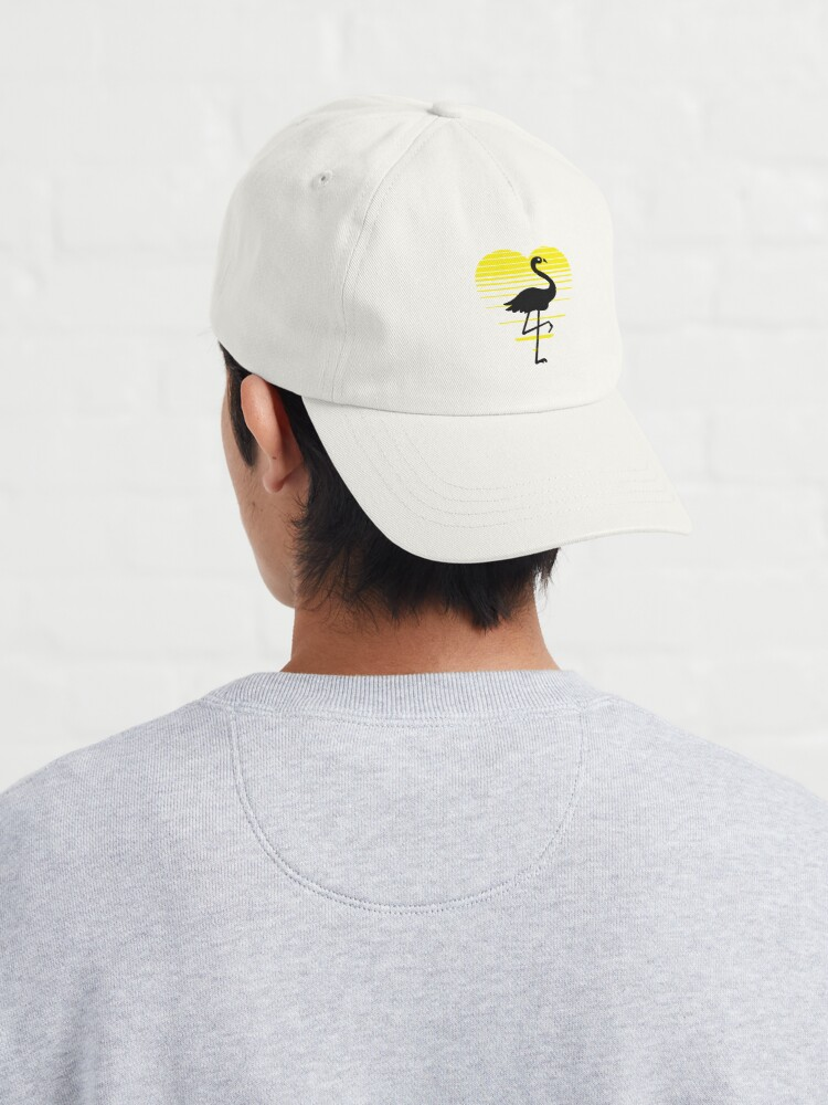 Alternate view of Flamingo lady love silhouette, sunset heart. Flamingo lover gift Cap
