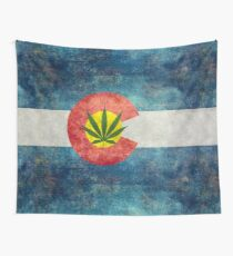 Retro Colorado State flag with the leaf - Marijuana leaf that is! Wall Tapestry