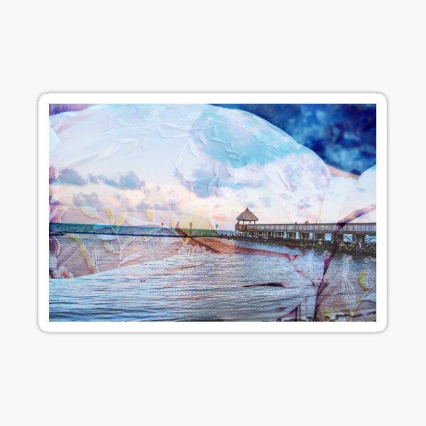 Surreal Rose on dock, Denise Castro Sticker