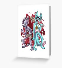 Krystal and Skinny - Edgy Hardcore Red Blood Edition Greeting Card