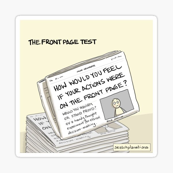 The front page test Sticker