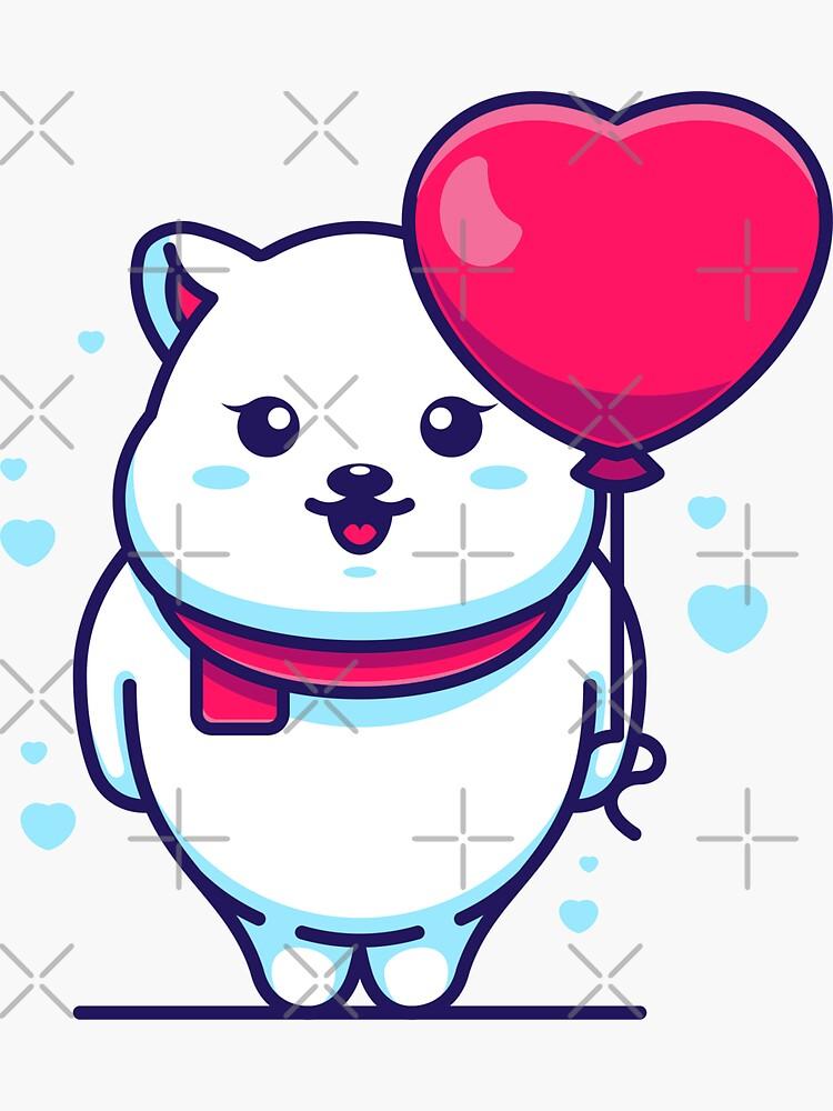 Cute polar bear with balloon cartoon by Wawadzgnstuff