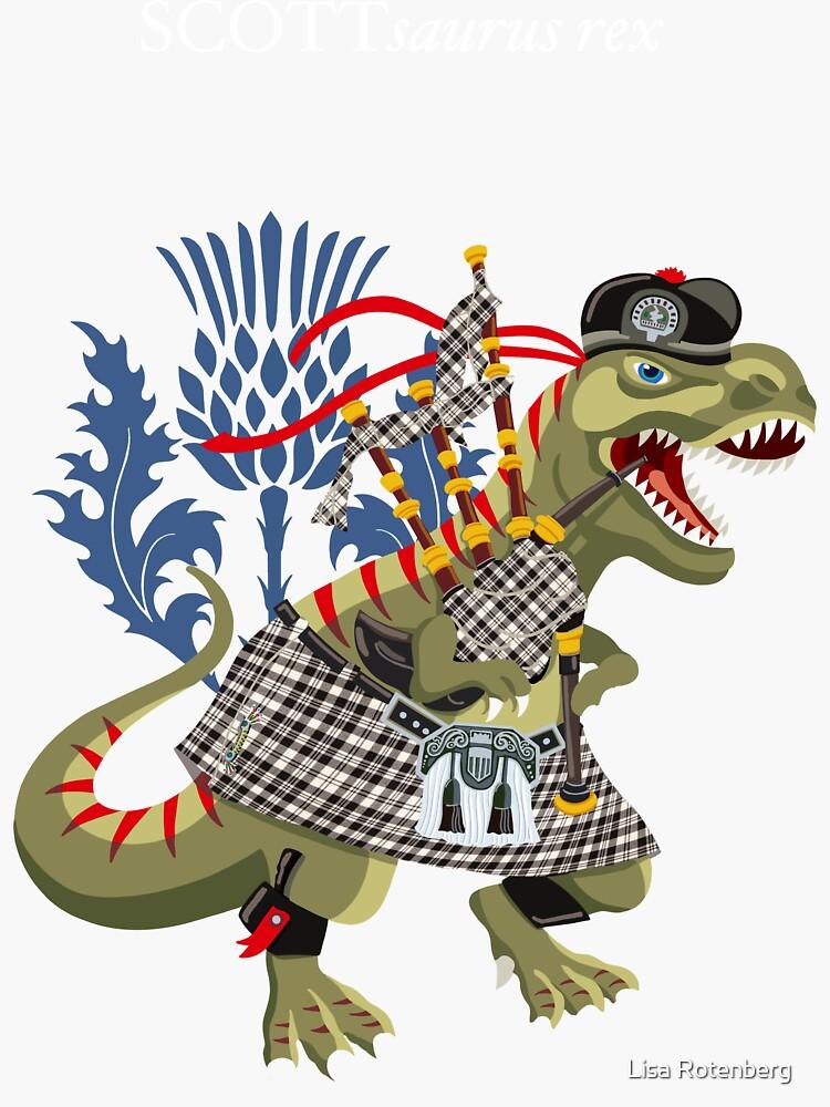 Clanosaurus Rex SCOTTsaurus rex Scott Black and White Clan Kilt Family Tartan by workobeez