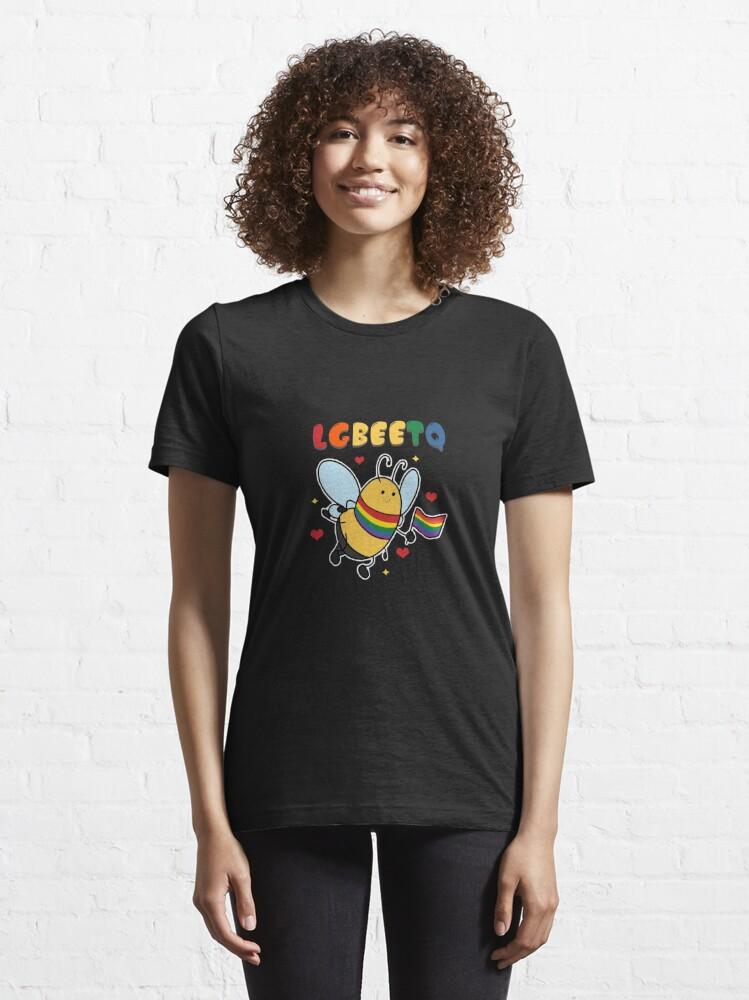 Alternate view of LGBEETQ LGBTQ  Community Bee Honeycomb Insect Honey Bees Beehive Stingless Honeybee T-shirt Design Essential T-Shirt