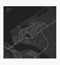 Almere, Netherlands Map. (White on black) Photographic Print