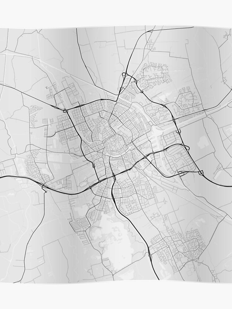 Groningen, Netherlands Map. (Black on white) | Poster