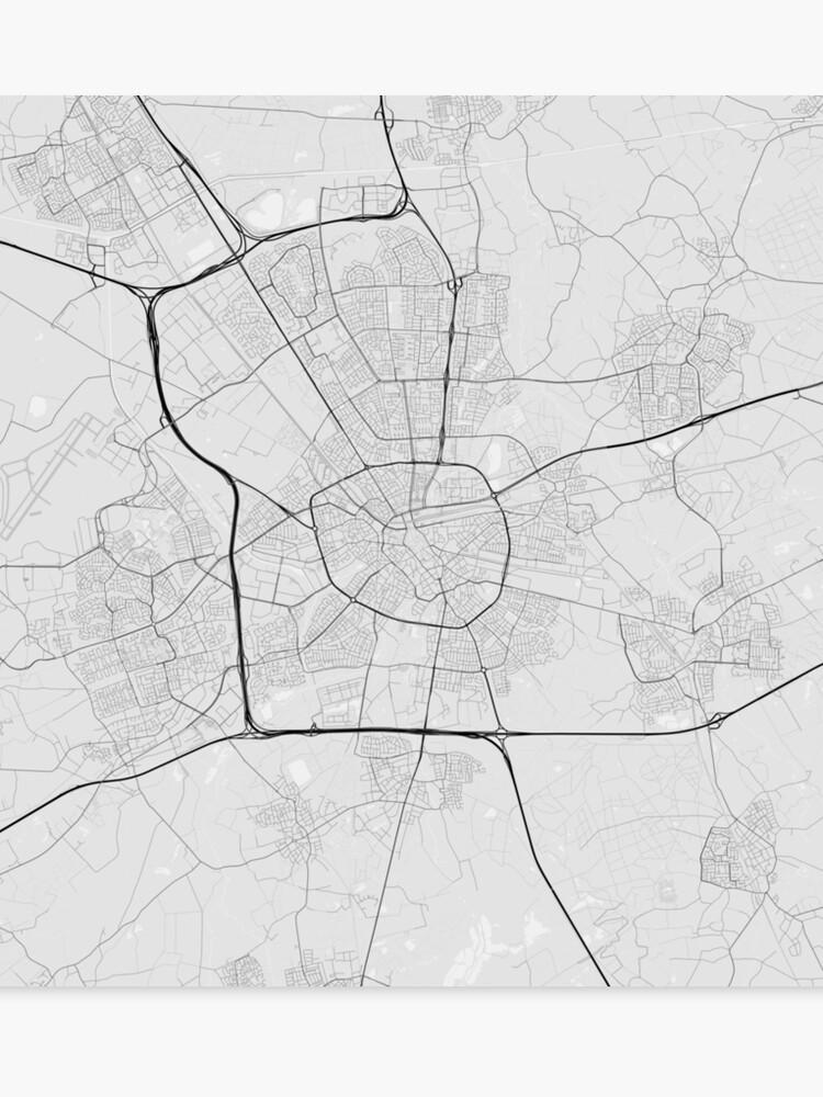 Eindhoven, Netherlands Map. (Black on white) | Canvas Print