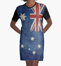 The National flag of Australia, retro textured version (authentic scale 1:2) Graphic T-Shirt Dress