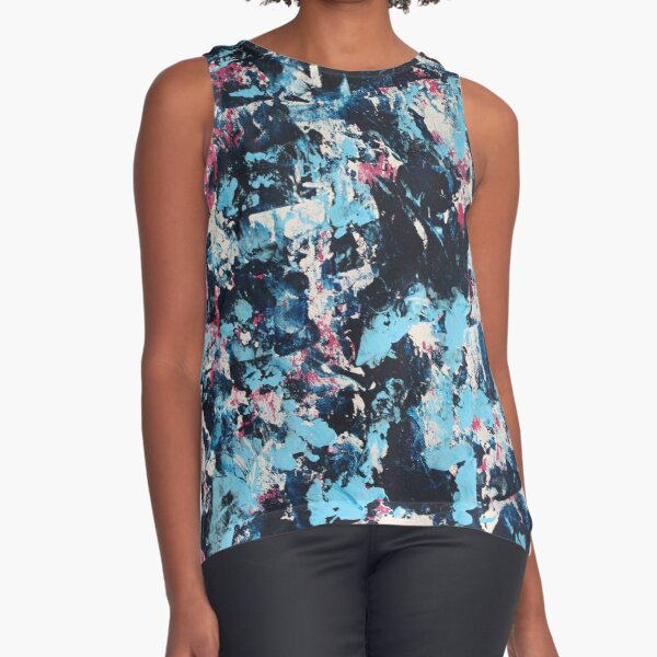 Blue and Pink Sleeveless Top