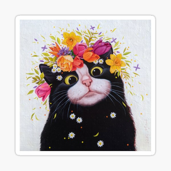 Spring Flowers Cat Sticker