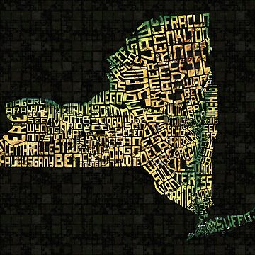 New York State Typographic Topography Map by icoNYC