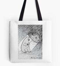 Bear does not like heavy rain.... Tote Bag
