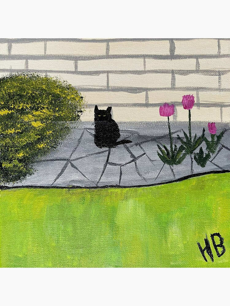 Feral Black Cat with Pink Flowers Folk Art by catladyjoy
