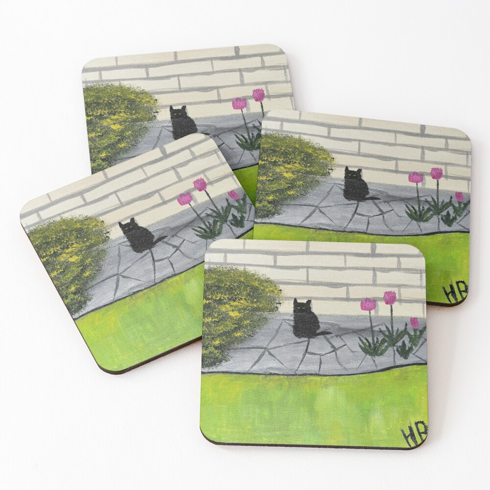 Feral Black Cat with Pink Flowers Folk Art Coasters (Set of 4)
