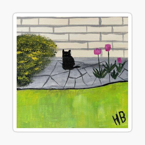 Feral Black Cat with Pink Flowers Folk Art Sticker