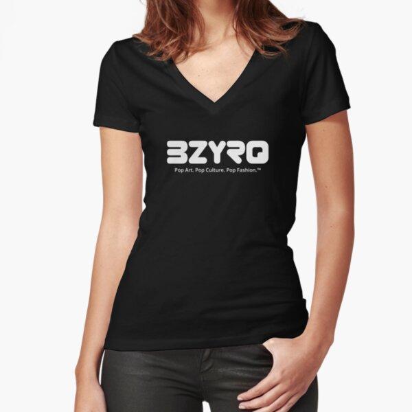 BZYRQ Logo (White on Black) Fitted V-Neck T-Shirt