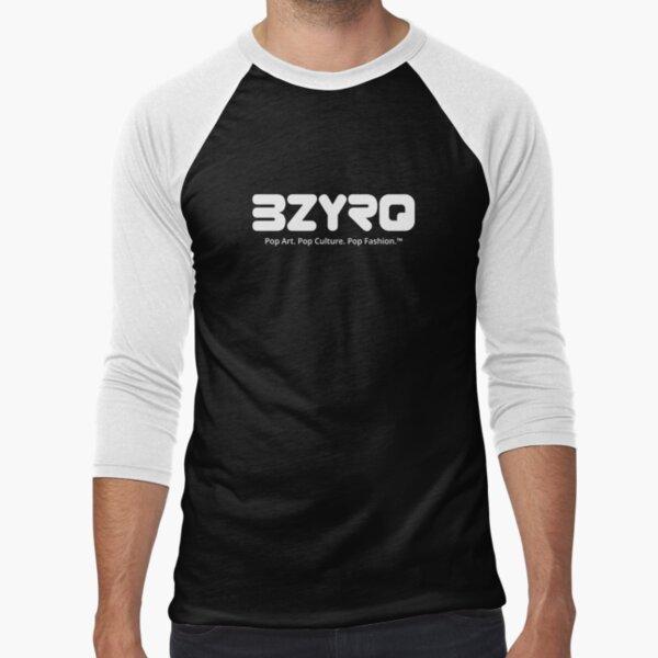 BZYRQ Logo (White on Black) Baseball ¾ Sleeve T-Shirt