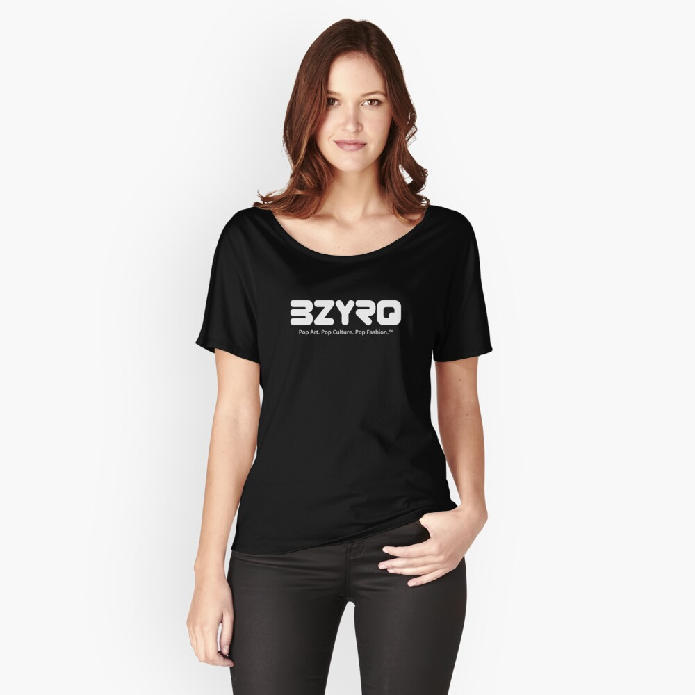BZYRQ Logo (White on Black) Relaxed Fit T-Shirt