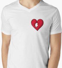 ROTES SAMT - Russisches Roulette-Herz-Logo T-Shirt mit V-Ausschnitt