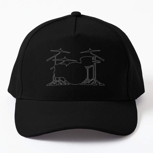 Drum set silhouette illustration Baseball Cap