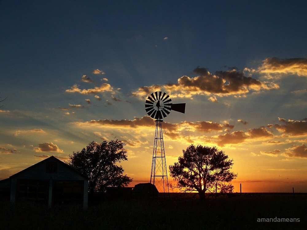 Rays Of Light Behind The Windmill by amandameans