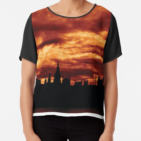 Second Dramatic Houses of Parliament At Dusk With Orange Clouds Chiffon Top