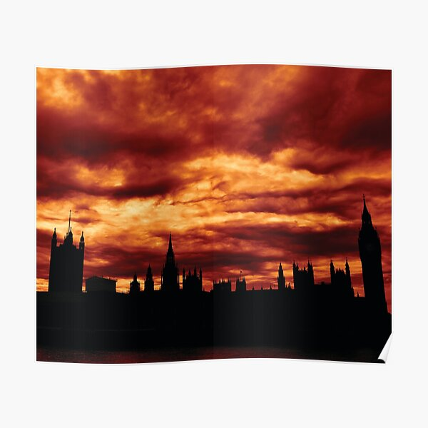 Second Dramatic Houses of Parliament At Dusk With Orange Clouds Poster