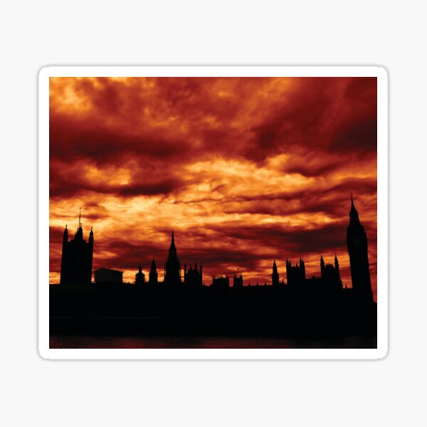 Second Dramatic Houses of Parliament At Dusk With Orange Clouds Sticker