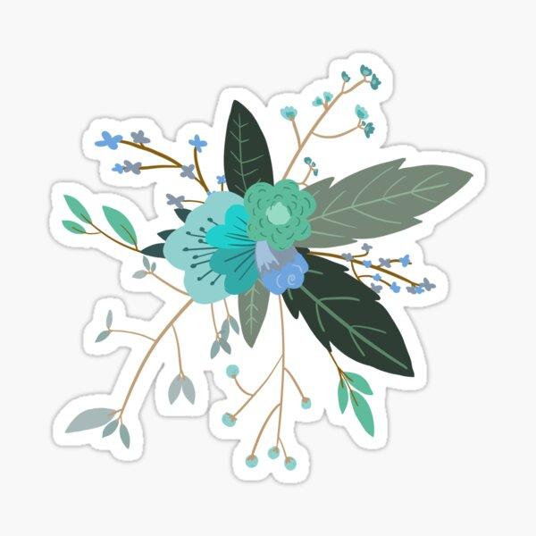 flower design - blue Sticker