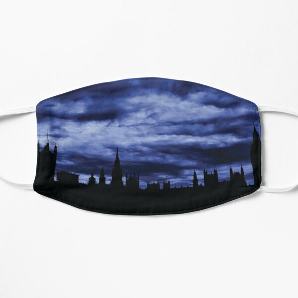 Dramatic Houses of Parliament At Dusk With Blue Clouds Flat Mask