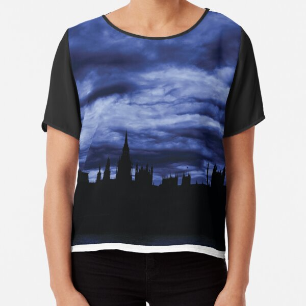 Dramatic Houses of Parliament At Dusk With Blue Clouds Chiffon Top