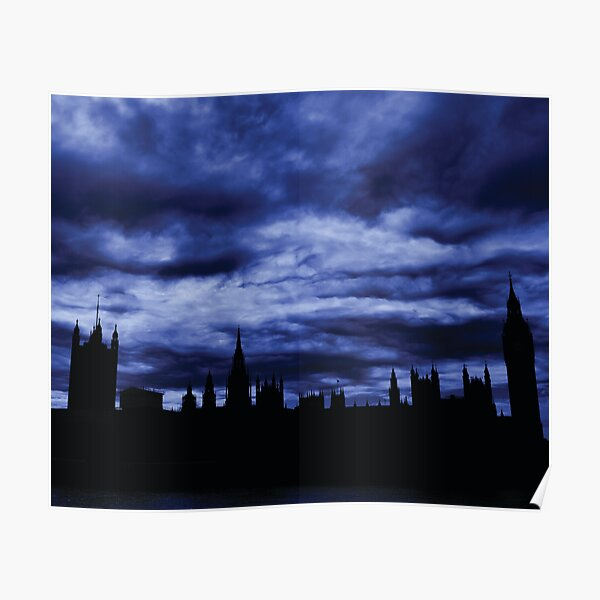 Dramatic Houses of Parliament At Dusk With Blue Clouds Poster