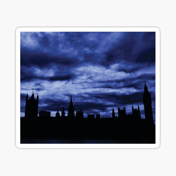 Dramatic Houses of Parliament At Dusk With Blue Clouds Sticker