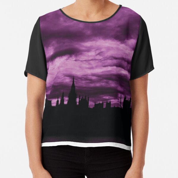 Second Dramatic Houses of Parliament At Dusk With Purple Clouds Chiffon Top
